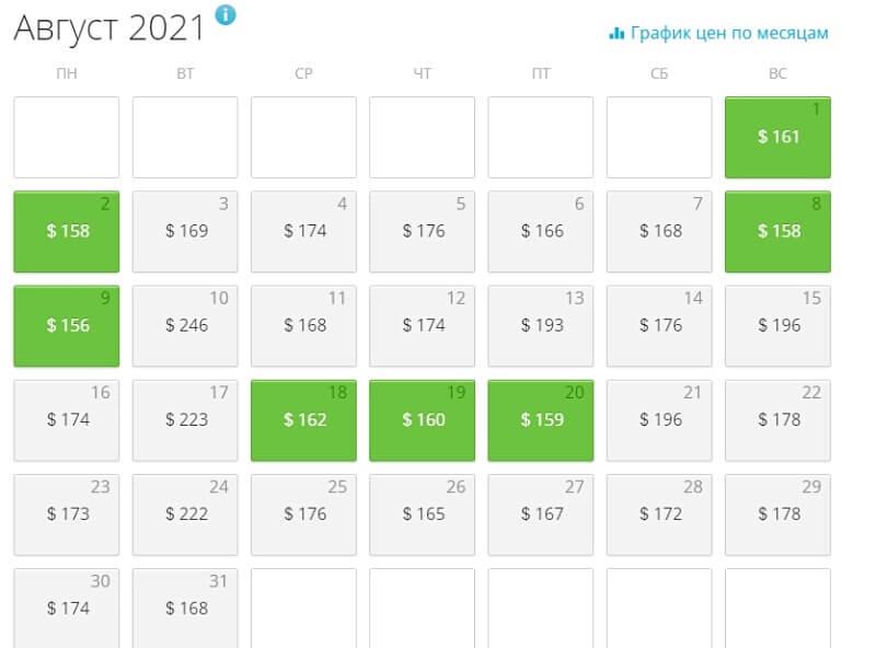 календарь низких цен авиабилеты